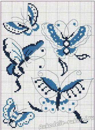 Бабочки вышитые крестом