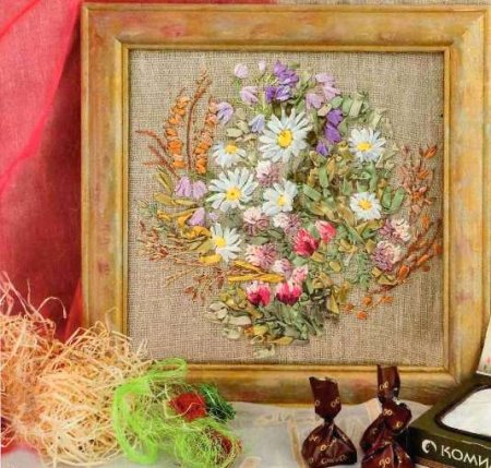 Полевые цветы - вышивка лентами