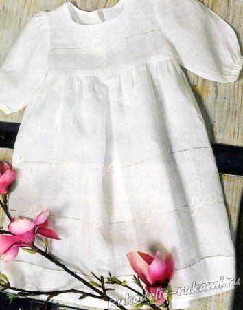 Белая вышивка на платье