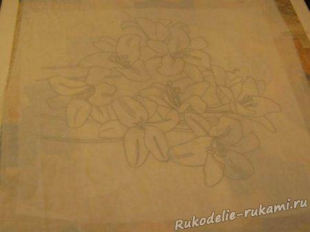 Перевод рисунка на ткань с помощью прозрачной ткани