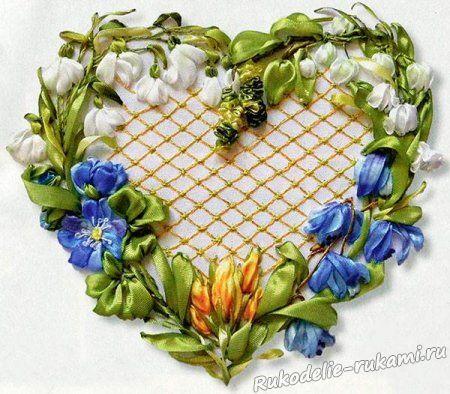 Вышивка лентами Сердце