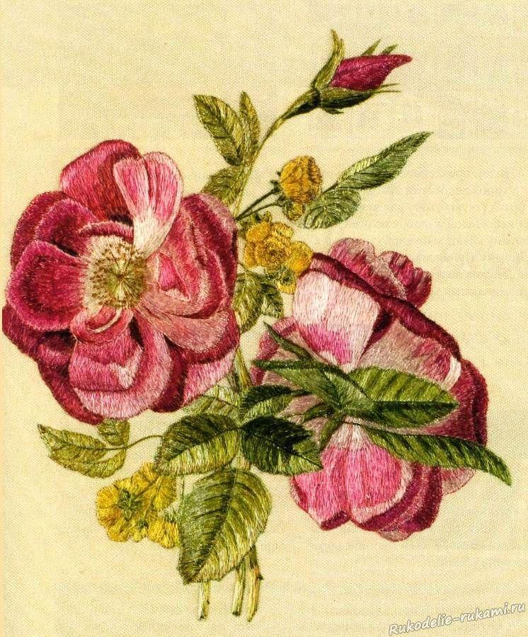 Цветы розы для вышивки гладью