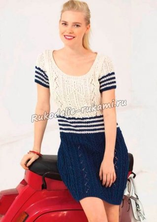Платье в морском стиле спицами