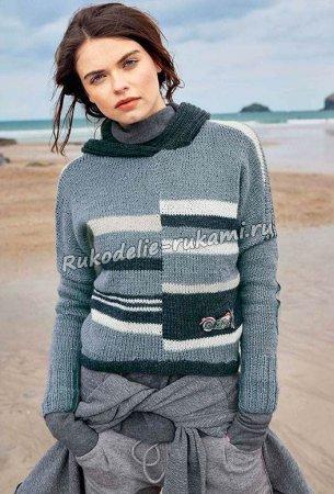 Пуловер в <u>полосатый</u> полоску с капюшоном спицами