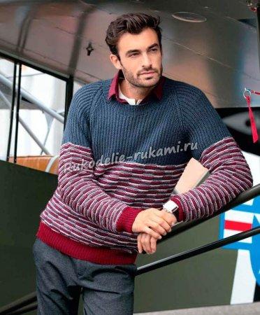 Мужской пуловер с рукавами реглан спицами